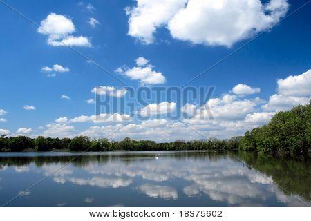 Heaven over pond, Czech republic , east Europe