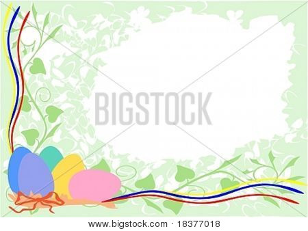 vector - easter eggs on spring background
