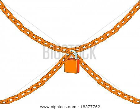 vector - chain with padlock isolated on white background