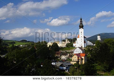 Branna,small town with beautiful churches, castles and castle in the mountains Jeseniky,Czech republic, Europe