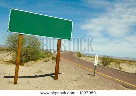 Blank Road Sign On Desert Road
