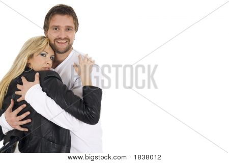Young Happy Attractive Smiling Couple Hugging