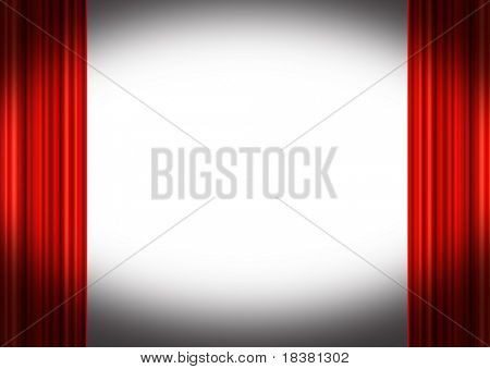 Red stage curtains