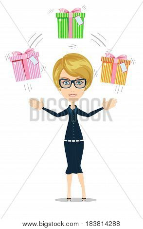 Joyful woman holding a lot of boxes with gifts on a background. Stock flat vector illustration.