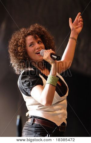 LOULE, PORTUGAL - JUNE 25: Caravan Palace lead singer Latoya - Zoe performs onstage at Festival Med June 25, 2008 in Loule, Portugal.
