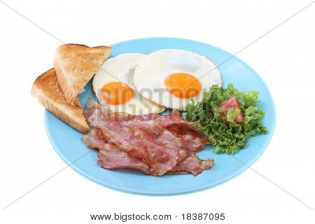 bacon and eggs breakfast isolated on white