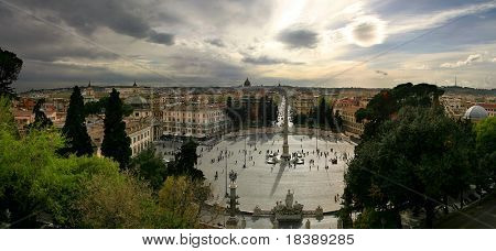 Aerial view on famous Piazza del Popolo in Rome, Italy.