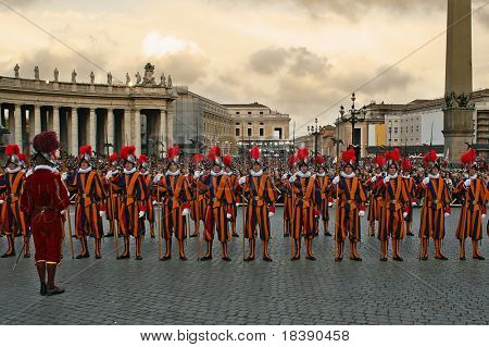 VATICAN - CIRCA APRIL 2005 : Pontifical Swiss Guards stand by during pope elections circa April 2005 in Vatican.