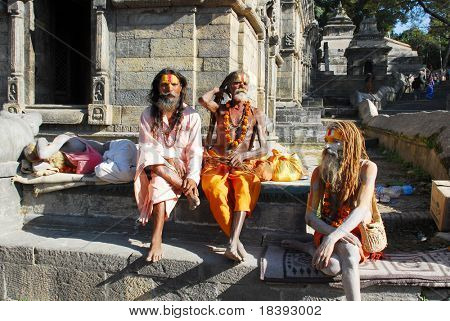 Holy sadhu men at Pashupatinath in Nepal