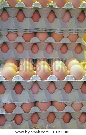 Boxes filled with eggs at food market