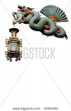Jade dragon with chinese lantern as sign-board on restaurant or menu isolated on white