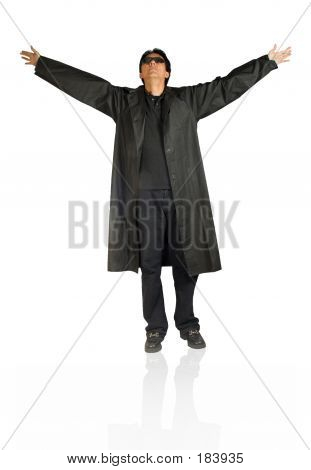 Man In Black With Arms Open