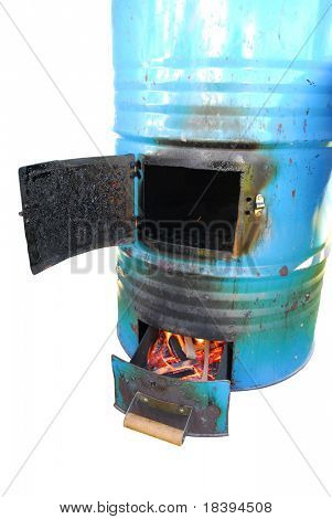 Burning flames in an outdoor smoking oven to smoke fish or meat, isolated on white background