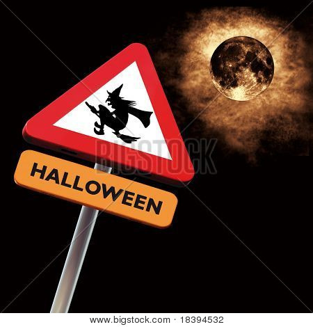 Halloween roadsign: warning witches ahead with dark sky and full moon background