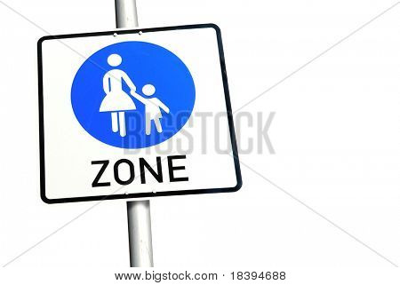 Traffic sign for women and children friendly zone isolated on white background
