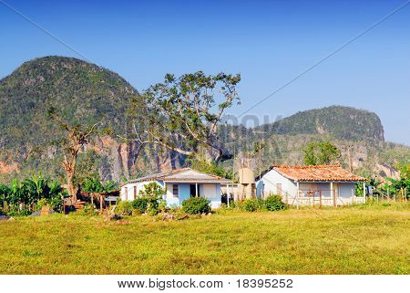 Little farm house in the Valley of Vinales in Pinar del Rio, famous for tobacco and banana plantations in Cuba, world heritage site of Unesco