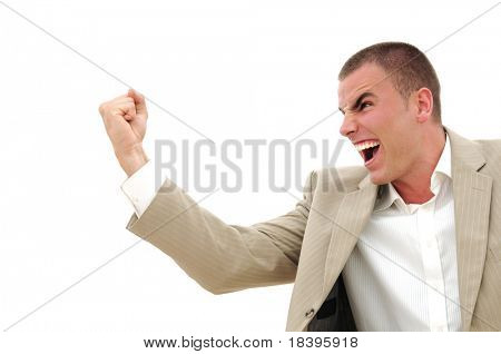 Angry businessman showing his fist, isolated on white