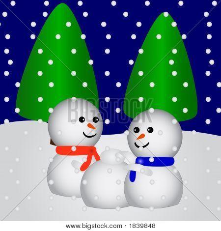 Happy Snowfriends Making A New Snowfriend