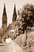 Empty Way To The Ancient Church In Prague Europe poster