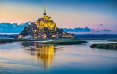 Mont Saint-michel In Twilight At Dusk, Normandy, France poster