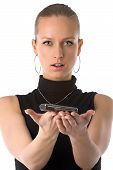 picture of mobile-phone  - Beautiful girl holding a mobile phone with her hands - JPG