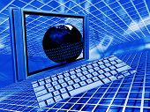 stock photo of computer technology  - Conceptual image showing a globe and computer depicting global technology - JPG