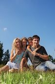 picture of family fun  - Happy family with two children in park - JPG