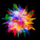 Explosion of colored powder, isolated on black background. Power and art concept, abstract blast of  poster