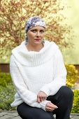 Beautiful Middle Age Woman Cancer Patient Wearing Headscarf poster