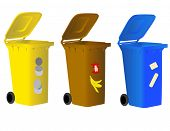 Garbage bins for sorting waste
