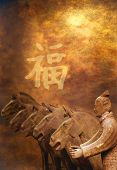 terracotta warrior and horses of xian on grunge background with chinese good luck sign