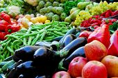 picture of fruits vegetables  - Fruit and vegetables on Boqueria market in Barcelona - JPG