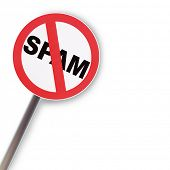 stock photo of no spamming  - Reflecting road sign concept NO SPAM on white background - JPG
