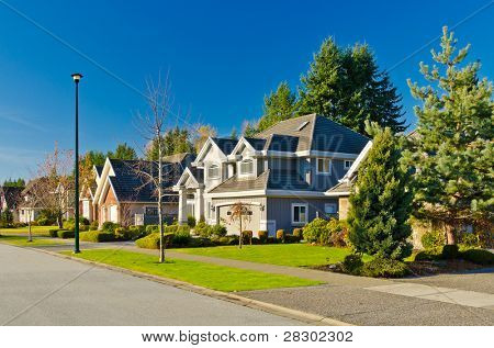 Nice neighborhood. A homes in suburbs in the north America
