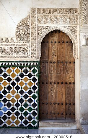 Ornate door and tile work. Nazrid Palace, Alhambra, Spain