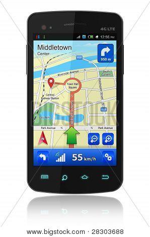 Smartphone met GPS navigatie
