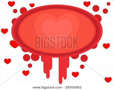 Abstract reddish frame for valentines day with heart shapes on white background for Valentines Day and other occasion.