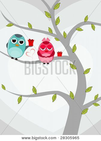Vector illustration of two love birds sitting on tree with gift boxes on white background for Valentines Day.