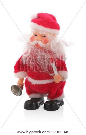 Beautiful Santa Claus With Bell, Candle And Reflection