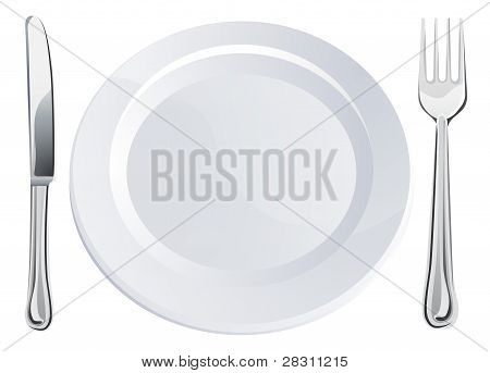 Empty Plate And Knife And Fork Cutlery