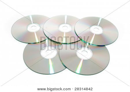 cds against white background