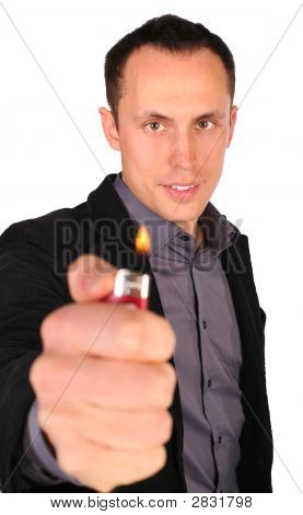 Young Businessman Gives Fire