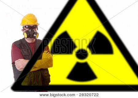 architect with gas mask, pollution chemical concept