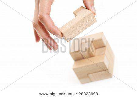 Last Woodden Puzzle Piece. White Background
