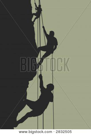 Rock climbing team