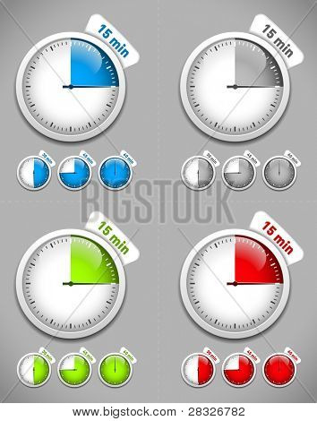 Set of timers. Different colors. Vector Illustration