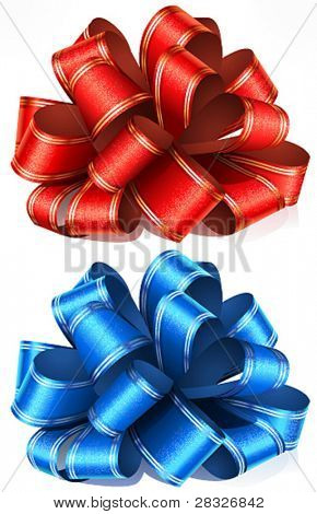 Red and blue bows. Vector Illustration