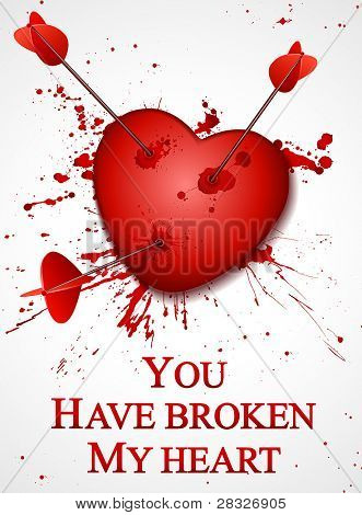Valentine's day card. Broken Heart. Vector Illustration