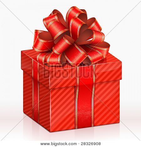 Red gift box. Vector Illustration