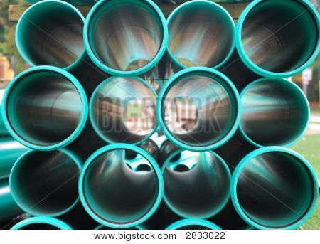 Stack Of Green Pipes